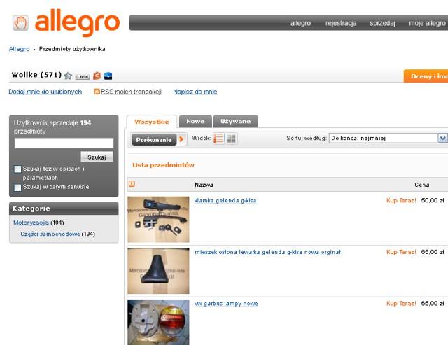 Sklep abcsamochody.pl oferuje w serwisie Allegro części samochodowe Mercedes VW i aut amerykańskich